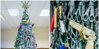 В аэропорту Вильнюса собрали елку из конфискованных предметов
