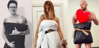 Новый челлендж на время самоизоляции-фотки в «платьях» из подушек. Фото apostrophe.ua