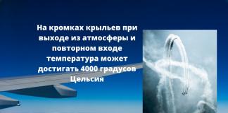 На кромках крыльев при выходе из атмосферы и повторном входе температура может достигать 4000 градусов Цельсия