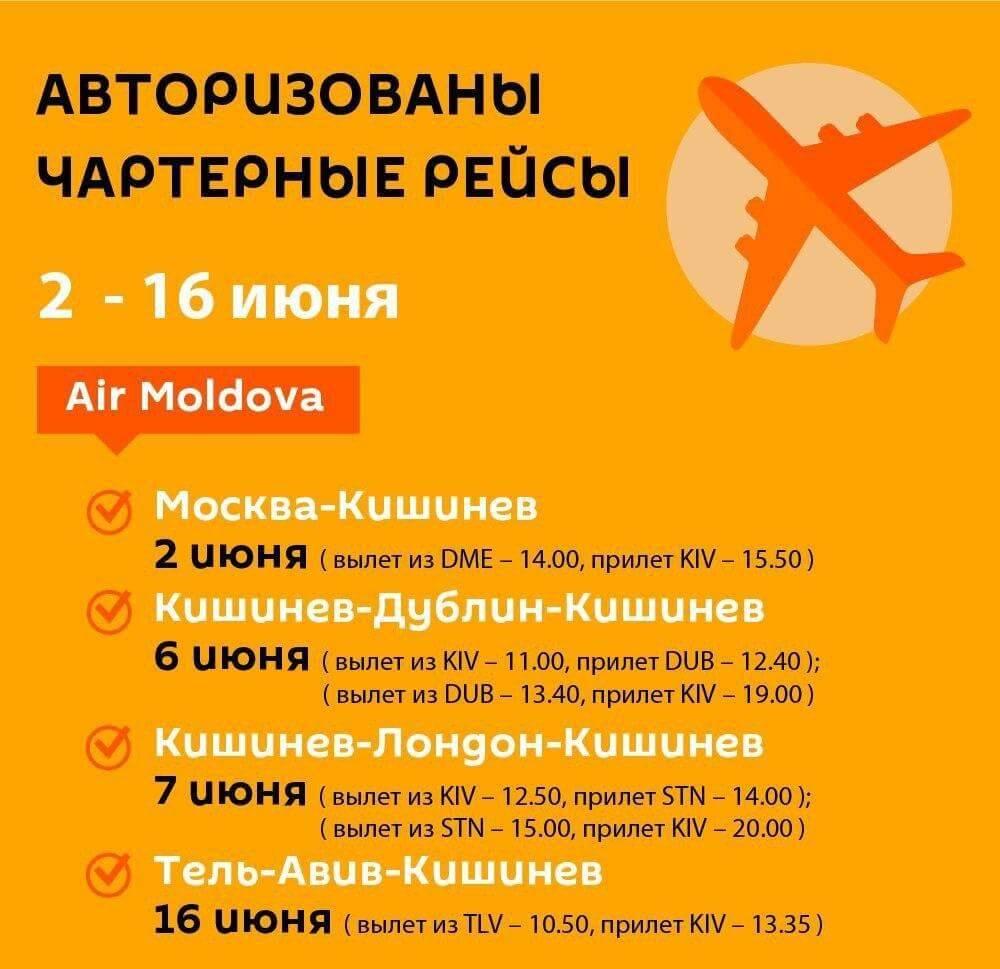 Расписание чартерных рейсов 2-16 июня