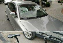 Велосипедист врезался в автомобиль