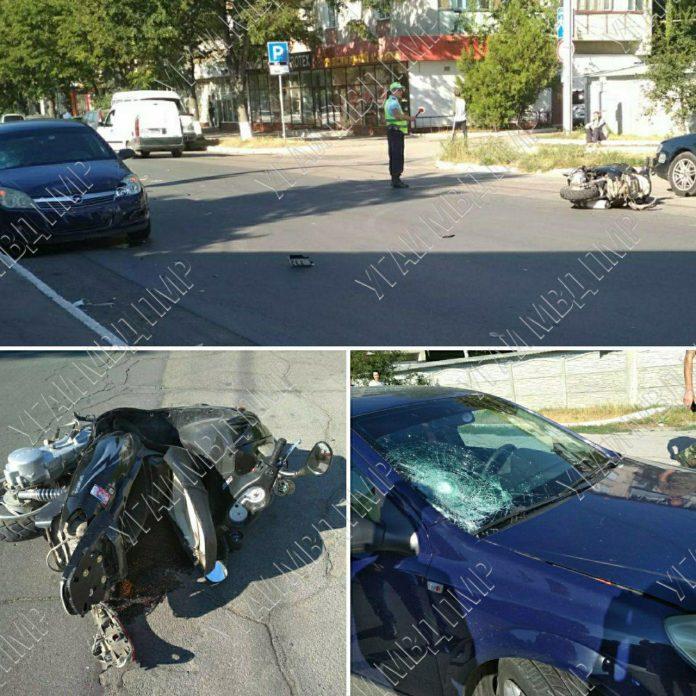 Мопед Lifan и Opel Astra столкнулись в Рыбнице. Фото УГАИ МВД ПМР