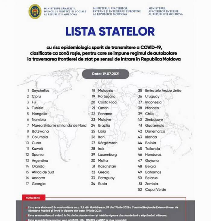 список стран с красной зоной